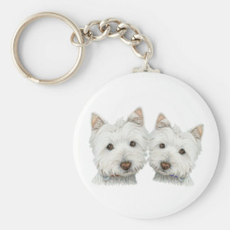 Cute Westie Dogs Key Ring