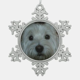 Cute Westie Face Snowflake Ornament