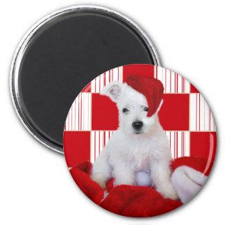 Cute Westie Pup Christmas Fridge Magnet