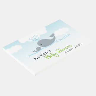 Cute Whale and Baby Whale, Baby Shower Guest Book
