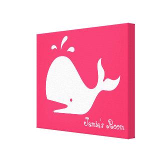 Cute Whale Art: Customizable Text & Color! Canvas Prints