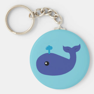 Cute Whale Basic Round Button Key Ring
