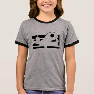 Cute whale girl's grey ringer T-Shirt HQH