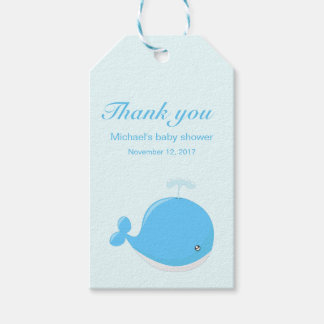 Cute whale kawaii cartoon baby shower thank you