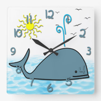 Cute Whale Kid's Square Wall Clock