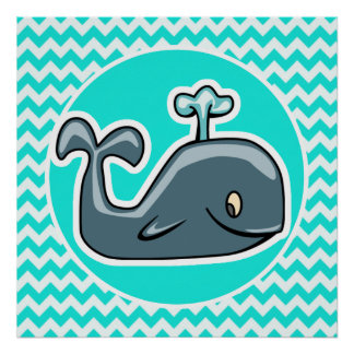 Cute Whale on Turquoise, Aqua Color Chevron Posters