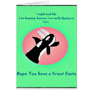 Cute Whale with Easter Bunny ears easter card