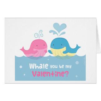 Cute Whale You Be Mine Valentine Love Card