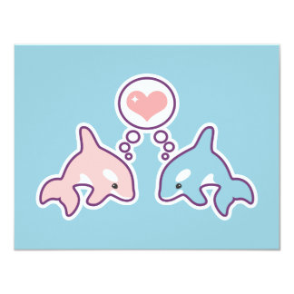 Cute Whales Birthday Party Invitations