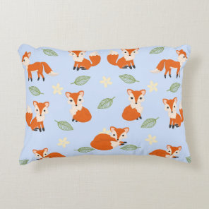 Cute Whimsical Baby Fox Leaf and Flower Pattern Decorative Cushion