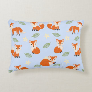 Cute Whimsical Baby Fox Leaf and Flower Pattern Decorative Cushion