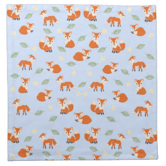 Cute Whimsical Baby Fox Leaf and Flower Pattern Napkin