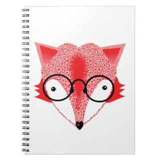 Cute Whimsical Bespectacled Funky Fox Picture Notebook