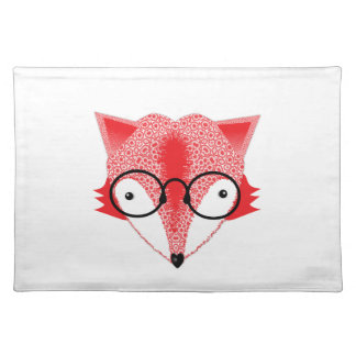Cute Whimsical Bespectacled Funky Fox Picture Placemat