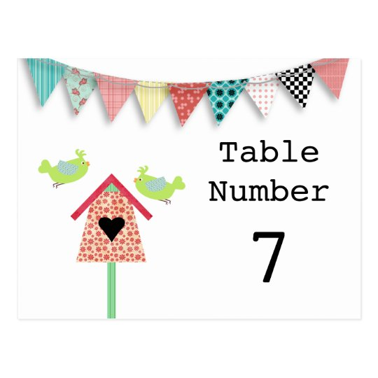 Cute Whimsical Birds And Birdhouse Table Numbers Postcard