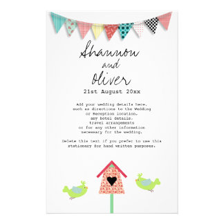 Cute Whimsical Birds And Birdhouse Wedding Info Customized Stationery