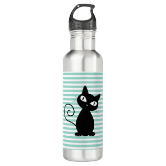 Cute Whimsical Black Cat on Stripes 710 Ml Water Bottle