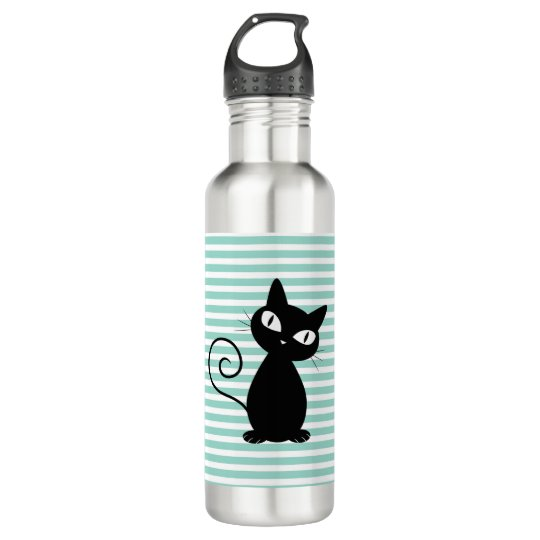 Cute Whimsical Black Cat on Stripes 710 Ml