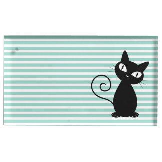 Cute Whimsical Black Cat on Stripes Place Card Holder