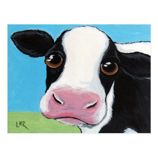 Cute Whimsical Black & White Cow Postcard