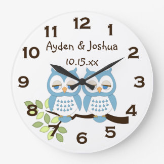 Cute Whimsical Blue Boy Owl Twins Wall Clock