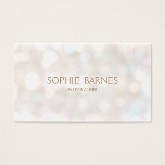 Cute Whimsical Bokeh Event Party Planner Business Card