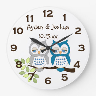 Cute Whimsical Boy Owl Twins Wall Clock