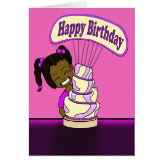 Cute Whimsical Cake Birthday Greeting Card