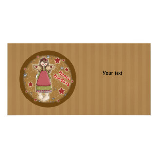 Cute whimsical Christmas angel Photo Cards