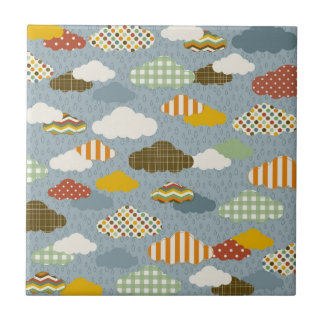 Cute Whimsical Clouds Patterns of Plaid Polka Dots Small Square Tile