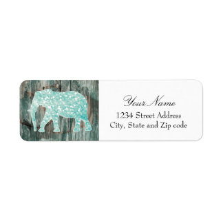 Cute Whimsical Elephant on Wood Design Return Address Label