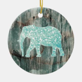 Cute Whimsical Elephant on Wood Design Round Ceramic Decoration