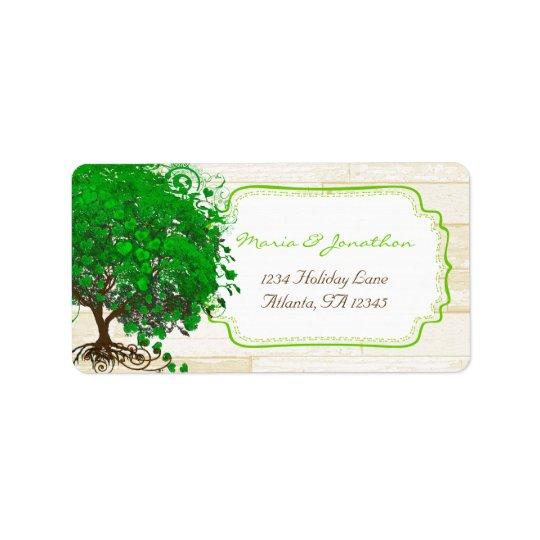 Cute Whimsical Emerald Green Heart Leafed Tree Address Label