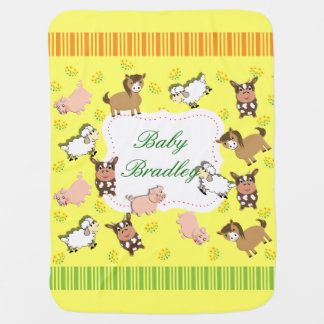 Cute Whimsical Farm Animals Theme Buggy Blanket