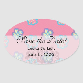cute whimsical flowers on pink oval sticker