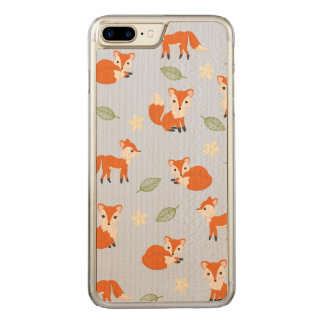 Cute Whimsical Fox Leaf and Flower Pattern Carved iPhone 7 Plus Case