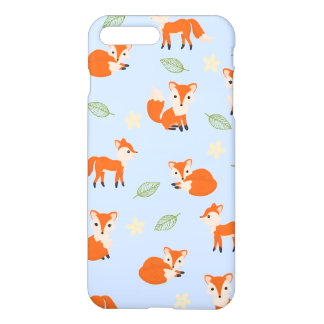 Cute Whimsical Fox Leaf and Flower Pattern iPhone 8 Plus/7 Plus Case