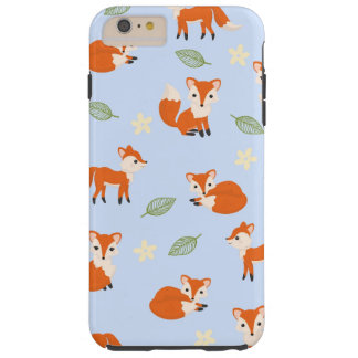 Cute Whimsical Fox Leaf and Flower Pattern Tough iPhone 6 Plus Case