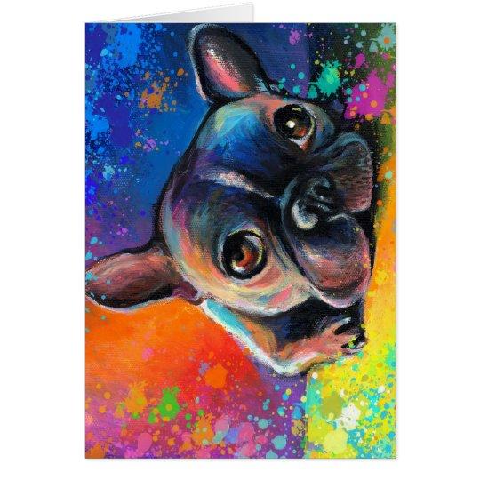 Cute Whimsical French Bulldog dog puppy Novikova Card