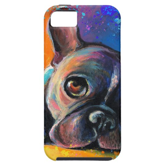 Cute Whimsical French Bulldog dog puppy Novikova iPhone