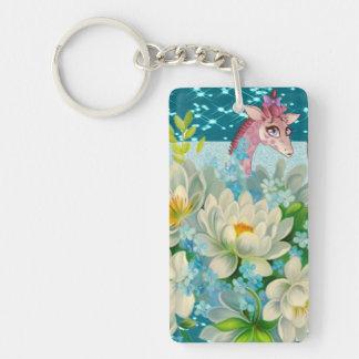 Cute Whimsical Giraffe -Blooming Flowers Double-Sided Rectangular Acrylic Key Ring
