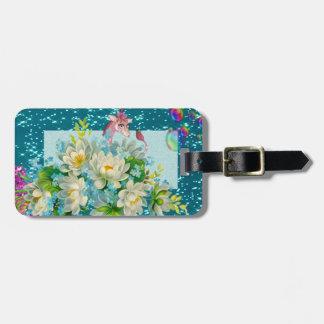 Cute Whimsical Giraffe -Blooming Flowers Luggage Tag