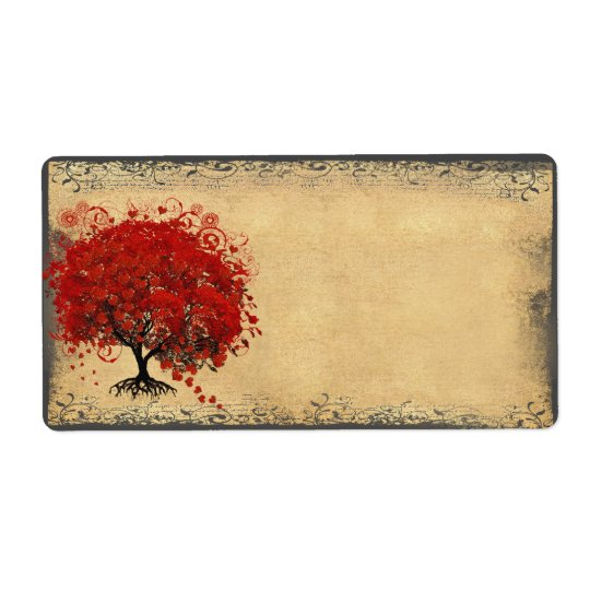 Cute Whimsical Heart Leafed Tree Red Shipping Label
