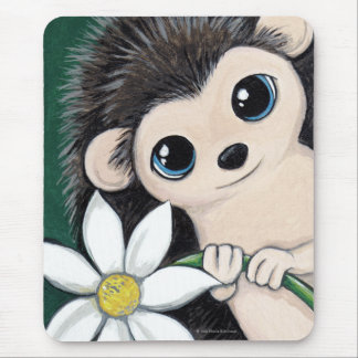 Cute Whimsical Hedgehog Holding a Flower Mousepad