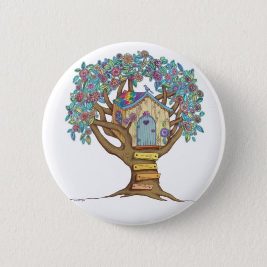 Cute, whimsical illustrated treehouse on a button