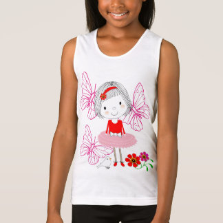 Cute Whimsical Little Girl Butterflies And Flowers Tank Top