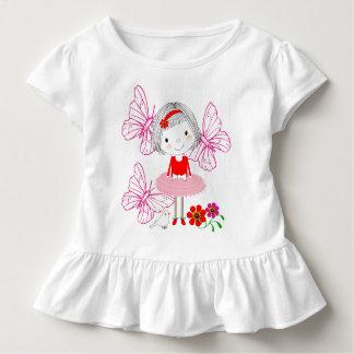 Cute Whimsical Little Girl Butterflies And Flowers Toddler T-Shirt