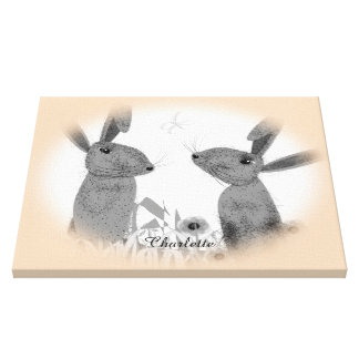 Cute Whimsical March Hares Personalized Canvas Print