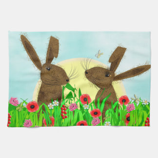 Cute Whimsical March Hares Poppy Field Tea Towel