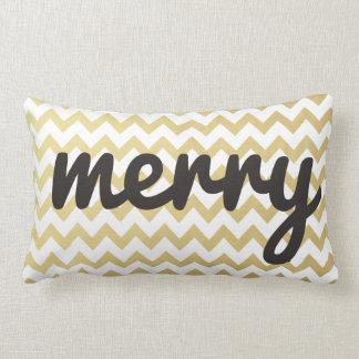 Cute Whimsical Merry Script Gold Chevron Holiday Lumbar Cushion
